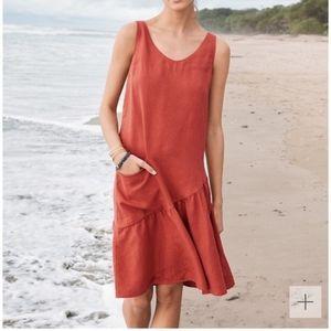 Garnet Hill 100% Linen Trapeze Dress Size 10